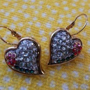 Vintage Rhinestone Heart Drop Earrings